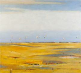 Peizažas su geltonais laukais