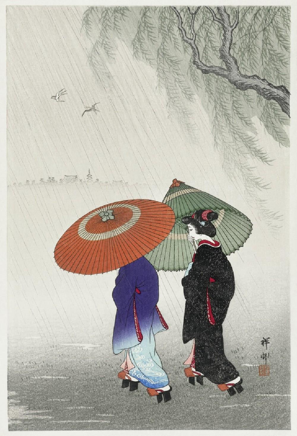 Two Women in the Rain