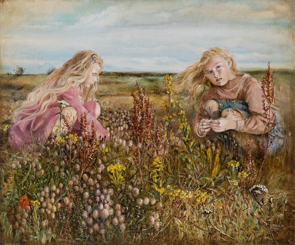 Mergaitės pievoje